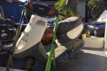 写真:浜松市中区中島 バイク廃車 原付ジョグC(何年放置?)