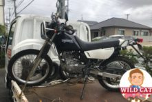 写真:バイク買取 浜松 SUZUKI ジェベル200 タンク凹み