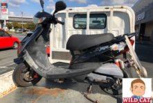 写真:浜松市南区南浅田 バイク廃車 原付ジョグ(SA39)事故車